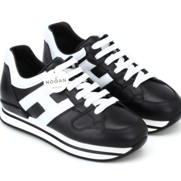 Hogan H222 black and white leather sneakers 6/36